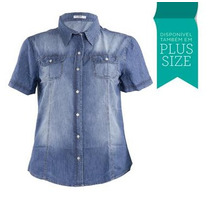 Camisa Jeans Feminina Masculina Grandes Plus Size Fact 2459
