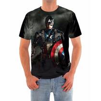 Camisa Capitão América Guerra Civil, Dry Fit Alta Qualidade