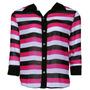 Camisa Botão Nighteen Botão Listrada Rosa/preto/branco