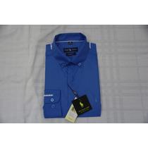 Camisa Social Masculina Polo Rauph Lauren, Cor Azul.