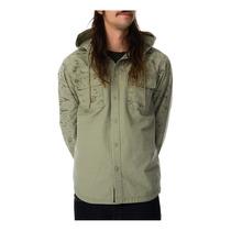 Rvca Mens O Excedente Ls Com Capuz Botão De Camisa