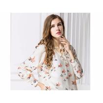 Blusa Camisa Feminina Floral Casual Moderna Estampada