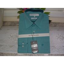 Camisa Social Masculina M. Long Tam 4 Cor Verde Cla 100% Alg