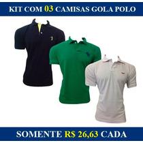 Kit 3 Camisas Gola Polo Abercrombie Hollister Nike Lacoste
