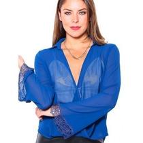 Camisa Azul Royal Bic Manga Flare C/ Renda Decote - Bata