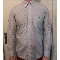Camisa Lacoste Social Listrad 100% Algodão Perfeito Estado G