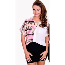 Camisa Xica Bunita - Chiffon Branco - C/estampa Étnica