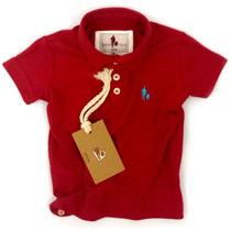 Camisa Polo Infantil, Qualidade Importada Original Vermelha