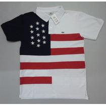 Camisa Polo Lacoste País Estados Unidos Com Estrela Bordada