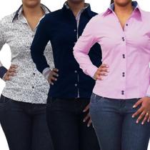 Camisa Blusa Polo Social Feminina Manga Longa Pronta Entrega