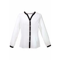Camisa De Chifon Branca Com Detalhes Pretos