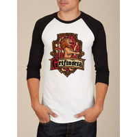 Camiseta Raglan Manga Longa Grifinória Harry Potter
