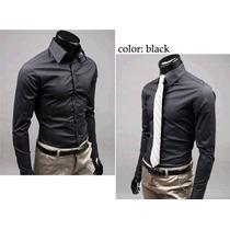 Camisa Social Slim Fit Pronta Entrega Preto Sólida Luxo