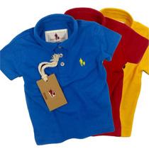 Kit 3 Camisas Polo Infantil, Qualid. Importada Original
