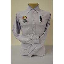 Camisa Social Masculina Polo Rauph Lauren Slim Fit, Cor Lilá