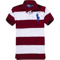 Camisa Polo Ralph Lauren Masculina Listrada Vinho E Branca