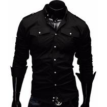 Camisa Social Casual Masculina Slim Fit Manga Longa Preta