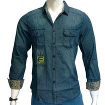 Camisa Jeans Masculina Slim Fit Manga Longa