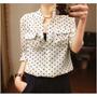 Camisa Blusa Feminina Social Manga Longa Bolinhas Polka Dot