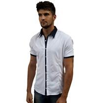 Camisa Manga Curta Social Masculina Slim Fit Pronta Entrega