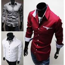 Camisas Sociais Lisas, Listradas, Preta Masculina Comprida