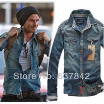 Camisa Masculina Social Jeans Blusa Deivid Beckham S & S