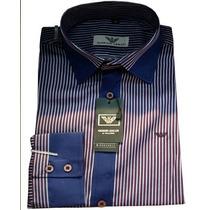 Camisa Social Masculina Armani Listras Finas - Lilas