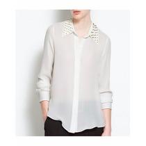 Camisa Branca Transparente C/ Rebites Pronta Entrega