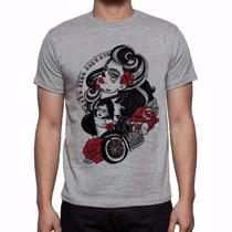 Camiseta Cinza Caveira Mexicana Rockabilly Moto Rock Retrô