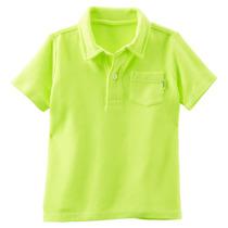 Oshkosh Camisas Pólo De Manga Curta Pique Para Amarelas Cri