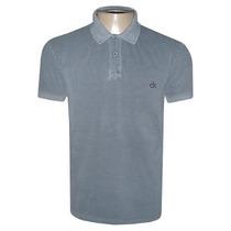 Camisa Calvin Klein Gola Polo Camiseta Cinza