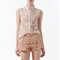 No Brasil! Camisa Broderie Renda Flor Modelagem Zara Blusa