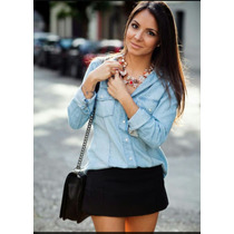 Camisa Feminina Jeans Super Fashion Ultima Tendencia