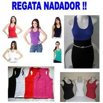 Camiseta Regata Em Malha - Costas Nadador - Varias Cores