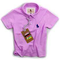 Camisa Polo Infantil, Qualidade Importada Original Lilas