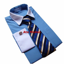 Camisa Masculina Punho Duplo Azul França N.01 ( Pp )