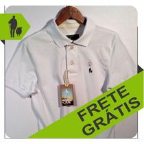 Camisa Polo Masculina Cor Branca, Qualidade De Importada