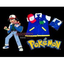 Kit Camisa,luvas E Boné Infantil Ash Ketchum,pokémon Cosplay