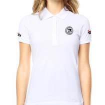 Camisa Gola Polo Glock Action Branca Feminina Tática Militar