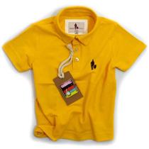 Camisa Polo Infantil, Qualidade Importada Original Amarela