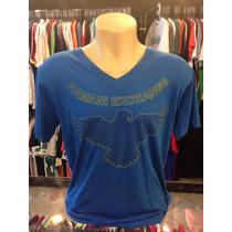 Camiseta Armani Exchange Azul Gola V Tam Gg Original #047