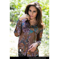 Camisa Social Toque De Seda Marrom E Azul - Borboleta - 1036