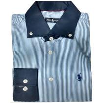 Camisa Social Masculina Rln Listras Finas Branca E Azul Mari