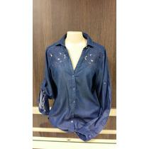 Camisa Feminina Dudalina 23202267004 Bordado Jeans