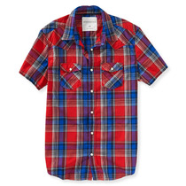 Aeropostale Xadrez Ocidental Mens Botão De Camisa