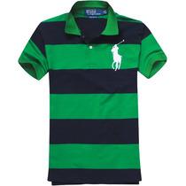 Camisa Polo Ralph Lauren Masculina Listrada Azul Verde