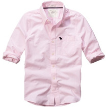 Camisa Social Casual Abercrombie & Fitch Masculina Rosa