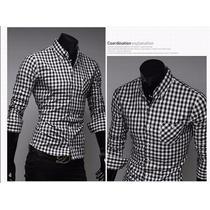 Camisa Masculina Xadrez De Manga Comprida Camisa De Homens