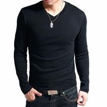 Camisa Camiseta Gola V Rasa Masculina Blusa Viscolycra