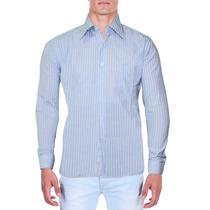 Camisa Social Masculina Verti Listrada Azul E Branca Luxo